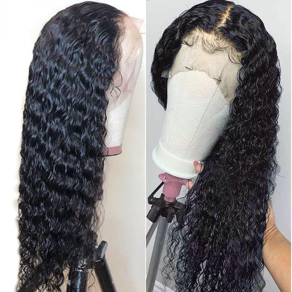 13x4 Pelo Rizado frente peluca 8-24 pulgadas sin pegamento frente encaje pelucas de cabello humano 150% Density Alimice Malaysian Remy pelucas de pelo
