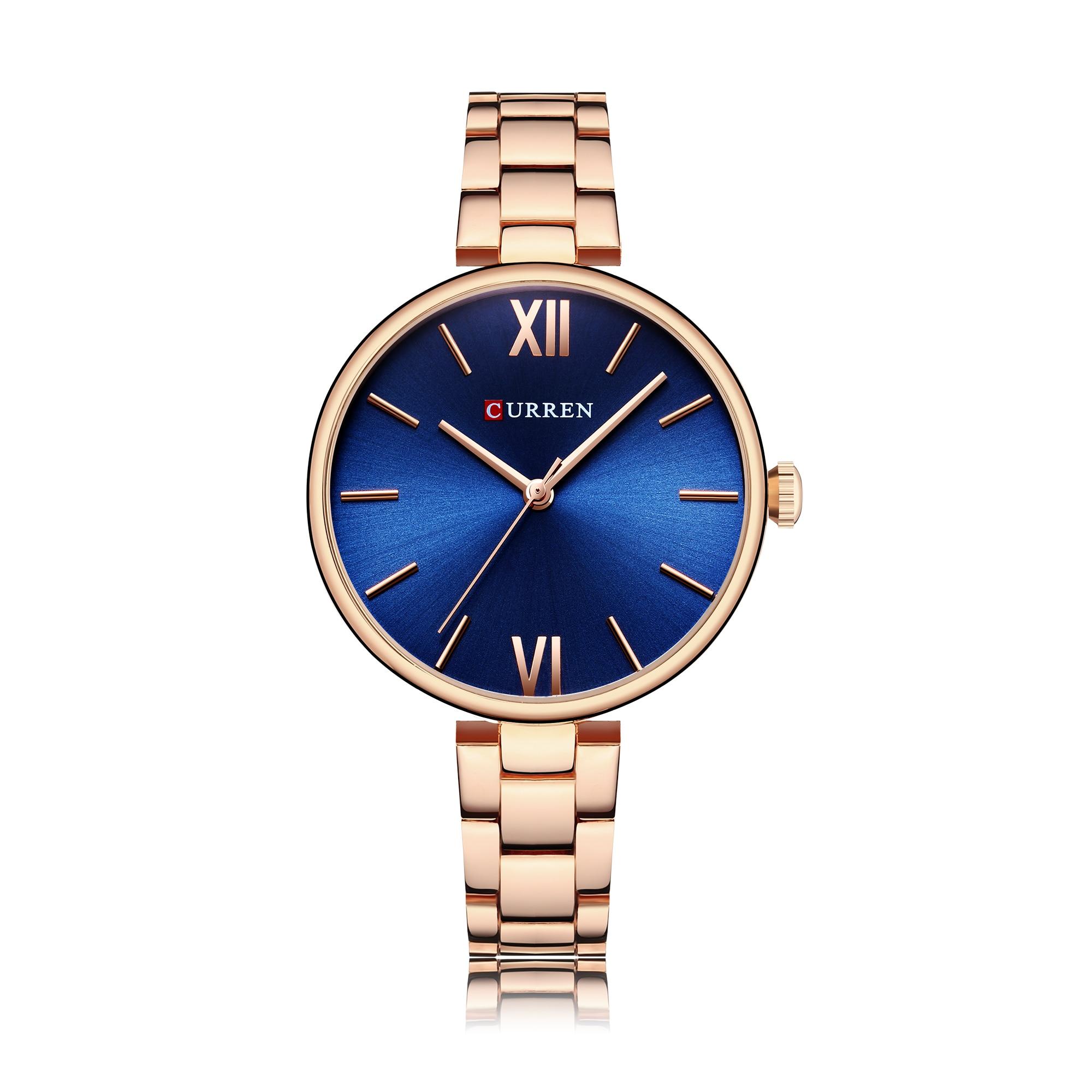 CURREN Women Watch Top Brand Luxury Casual Ladies Wristwatch Noble Stainless Steel Blue Dial Waterproof Hardlex Relogio Feminino enlarge