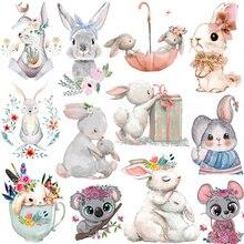 Pulaqi Nette Tiere Patches Für Kleidung Eisen Auf Transfer Vinyl Wärme Transfer Thermische Aufkleber Auf Kleidung Kinder Kaninchen Appliques