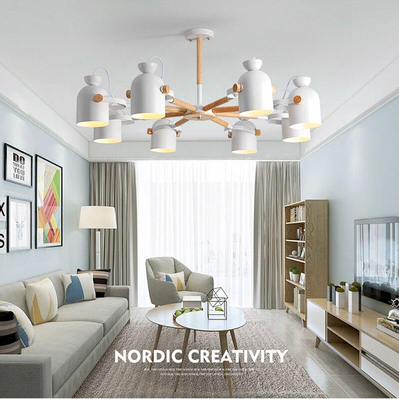 الشمال خشب متين E27 الثريا الحديثة الحد الأدنى لوفت نمط غرفة نوم غرفة المعيشة غرفة الطعام شقة فندق مخزن الإضاءة
