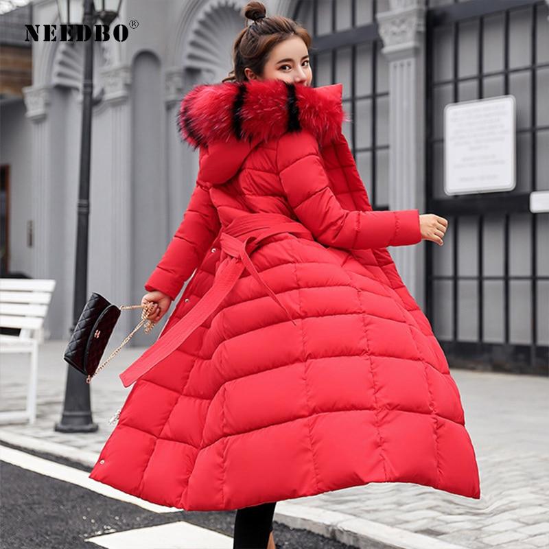 NEEDBO Winter Jacket Women with Fur Hood Plus Size Warm Long Winter Jacket and Coat for Women Doudoune Down Coat Lady Parka aorice b1810106 women s winter warm real wool fur jacket hood collar leisure girl coat lady jacket over size parka