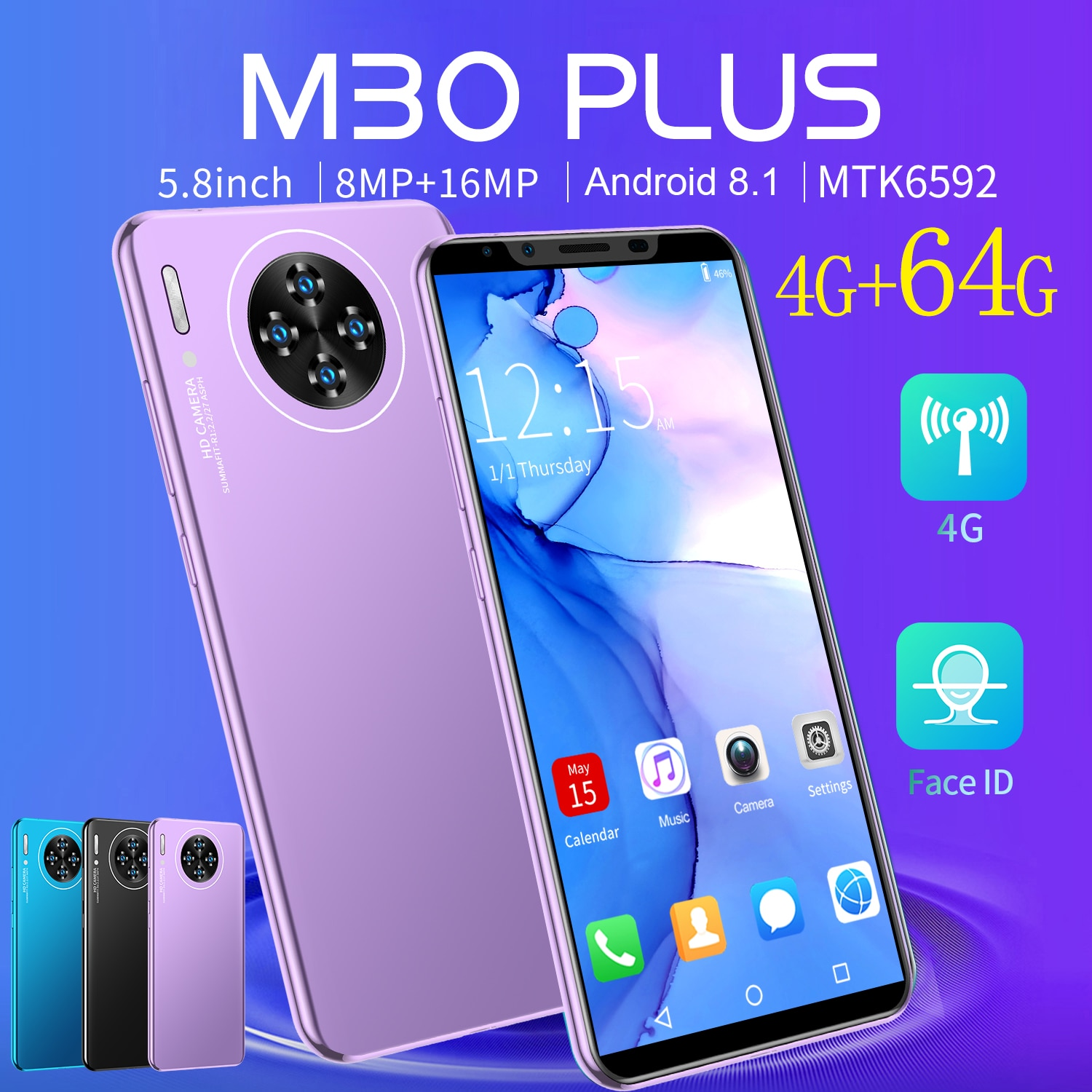Cheap Phone Galxy M30 Plus 5.8 Inch MTK6592 Andriod8.1 4+64GB 8 Core Smartphones 8+16MP Camera Global Version Mobile Cell Phone