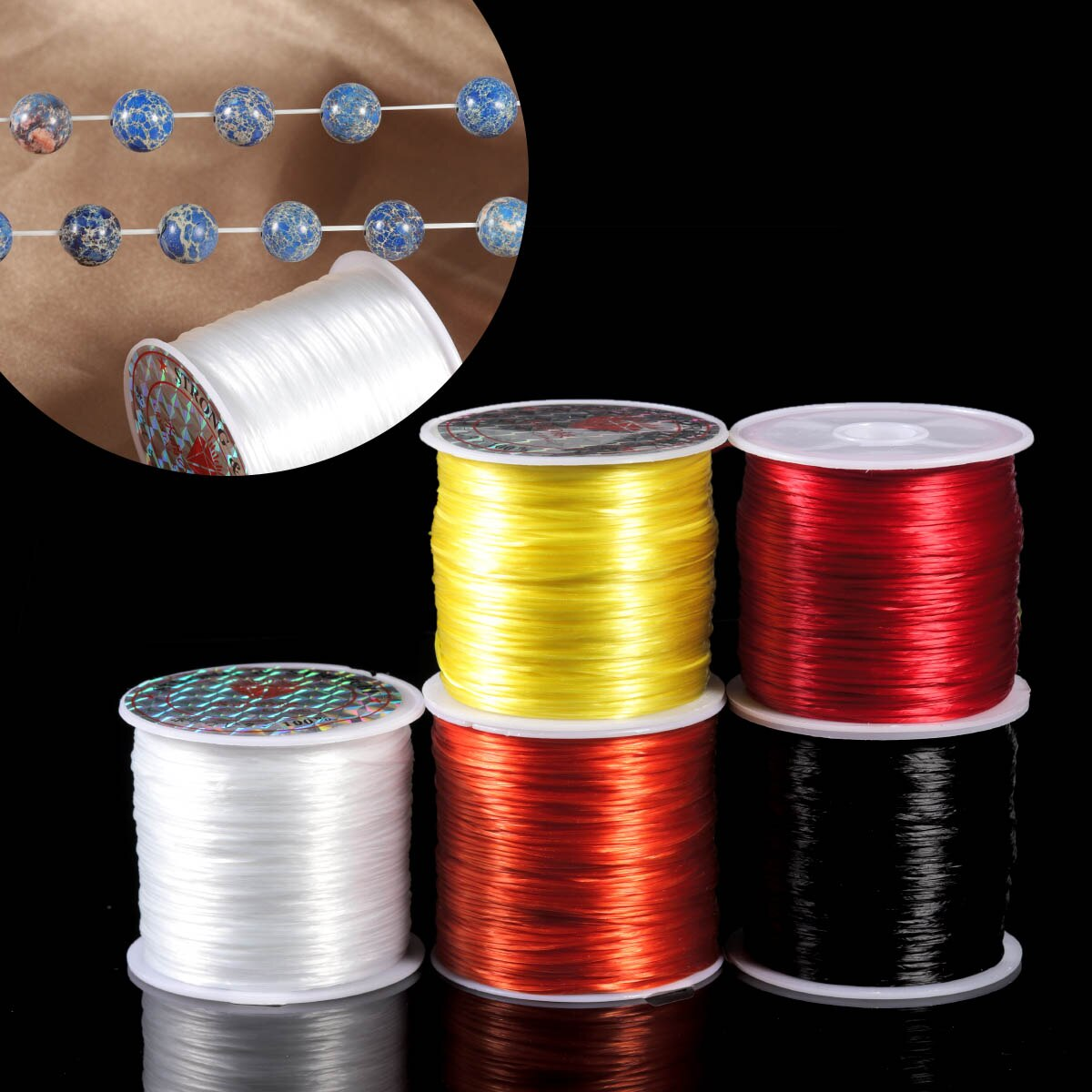 393inch/Roll Strong Elastic Crystal Beading Cord 1mm for Bracelets Stretch Thread String Necklace DIY Jewelry Making Cords Line
