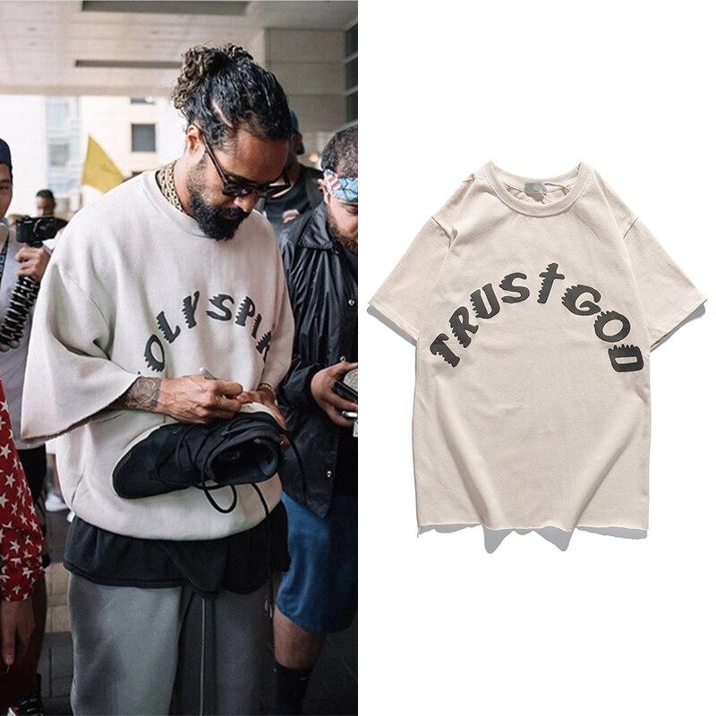 Zondag Service Kanye West T-shirt Vintage Oversized Gedrukt T-shirts Mannen Vrouwen Hip Hip Stranger Dingen Top Tee Streetwear