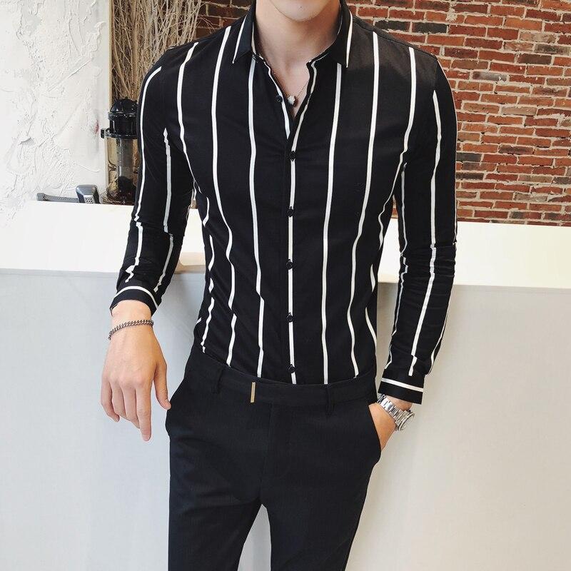 2021 Мужской Качество хорошая кнопка новые рубашки для мужчин Повседневная рубашка в полоску брендовая одежда с длинным рукавом, с длинными р...