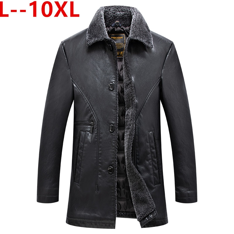 حجم كبير 10XL 8XL جديد الرجال معطف جلد طبيعي جلد الغنم الرجال سترة طويلة جلدية جواكت شتوية رجالي شحن مجاني حجم كبير