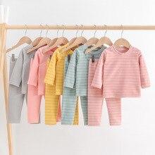 2021 New Children Thermal Underwears Set Plush Thickened Stripe Boys and Girls Winter Underwear Baby