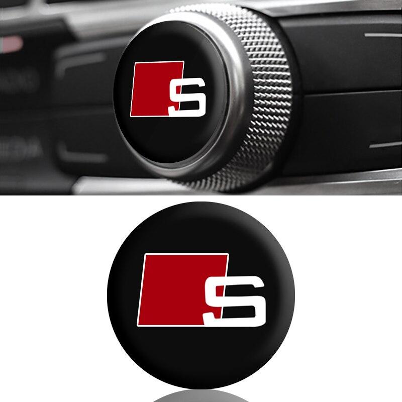 1 Uds interior del coche botón pegatina coche insignia decoración pegatina para Audi a3 a4 a5 a6 s4 s5 s6 s7 q3 q5 q7 c5 c6 b6 b7 b8 8p 8v