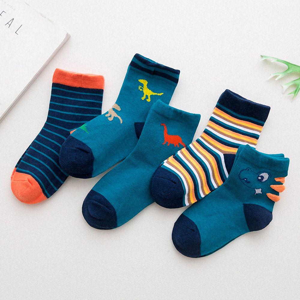 5 Pairs/Lot Cute Kid Socks Non-slip Cotton Floor Socks Autumn Winter Warm Dinosaur Printed Infant Toddler Socks Baby Accesseries