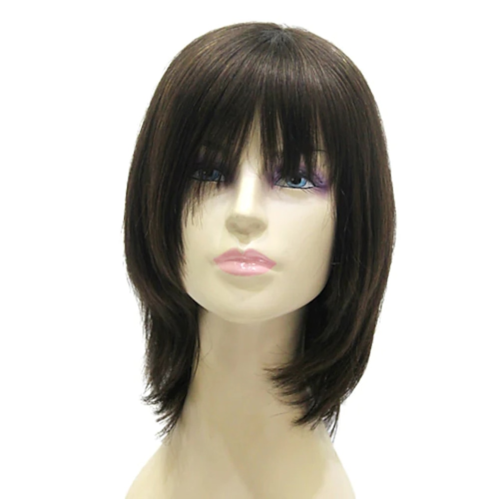 layered tail adduction long oblique bang siv human hair wig Human Hair Capless Wigs Straight Straight Bob Layered Haircut Short Hairstyles Wig Medium Length Black Human Hair 15 inch