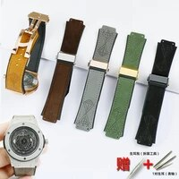 watch accessories for hublot 25 19mm matte leather silicone strap series 22mm folding buckle men and women sports rubber strap