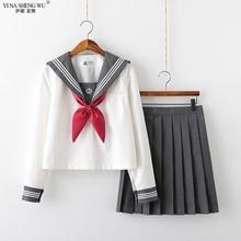 Neue Schule Uniformen JK Japanischen Sailor Uniform Anime Cosplay Kostüm Shirt Falten Rock Sets Design für Teenager Mädchen Studenten