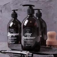 Bouteille de savon liquide brun rechargeable  500ml  Gel douche  presse  pot pour shampoing  distributeur de savon de salle de bains  vide