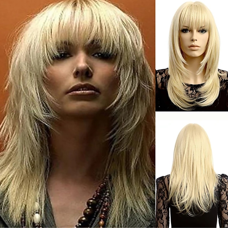 AliExpress - HAIRJOY Synthetic Hair  Wig  Women Blonde White Long  Straight Wig  Neat Bangs