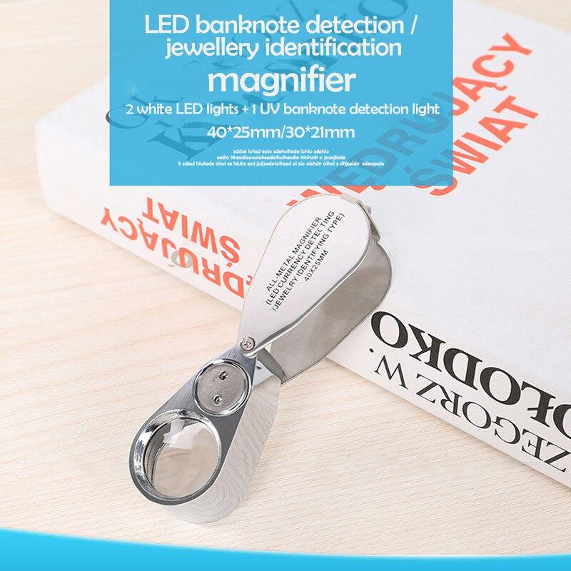 Lupa de lente de LED UV iluminada para joyero con construcción de Metal y vidrio óptico 40X