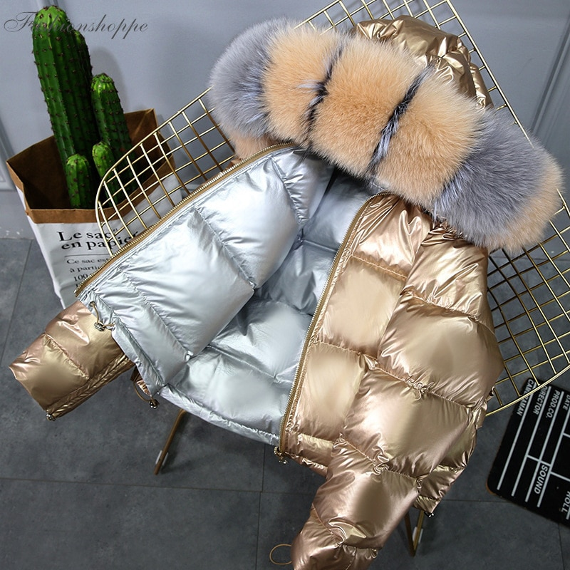 Chaqueta de invierno de piel de zorro Natural para mujer abrigo de plumón de piel de Parka dorado cálido para mujer chaqueta de plumón de pato blanco para invierno abrigo impermeable