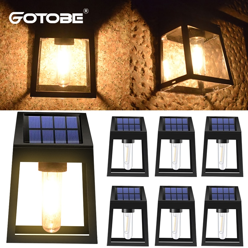 Smart Light Control Outdoor Solar Lamp Waterproof Solar Fence Light Garden Decoration Lights For Front Door Porch Patio Post
