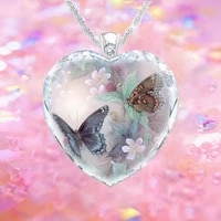 butterfly flower crystal glass women pendant necklace elegant romantic woman heart shaped necklace pendant birthday holiday gift