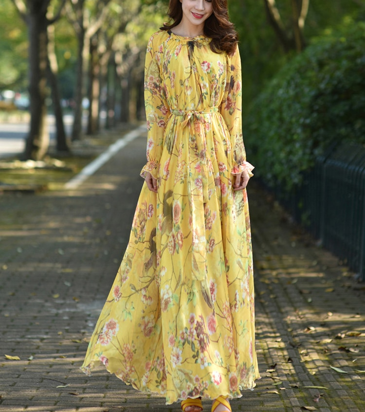 فضفاض شيفون موضة فستان طويل صيفي عباية إسلامية ملابس أنثى إسلامية المملكة العربية السعودية دبي قفطان فستان ماكسي زهري مطبوع
