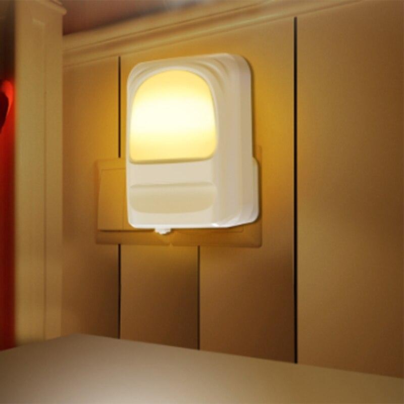 Enchufe de luz nocturna LED de noche luz de noche blanca cálida para habitación de bebé pasillo de la habitación cocina escaleras de baño enchufe de la UE