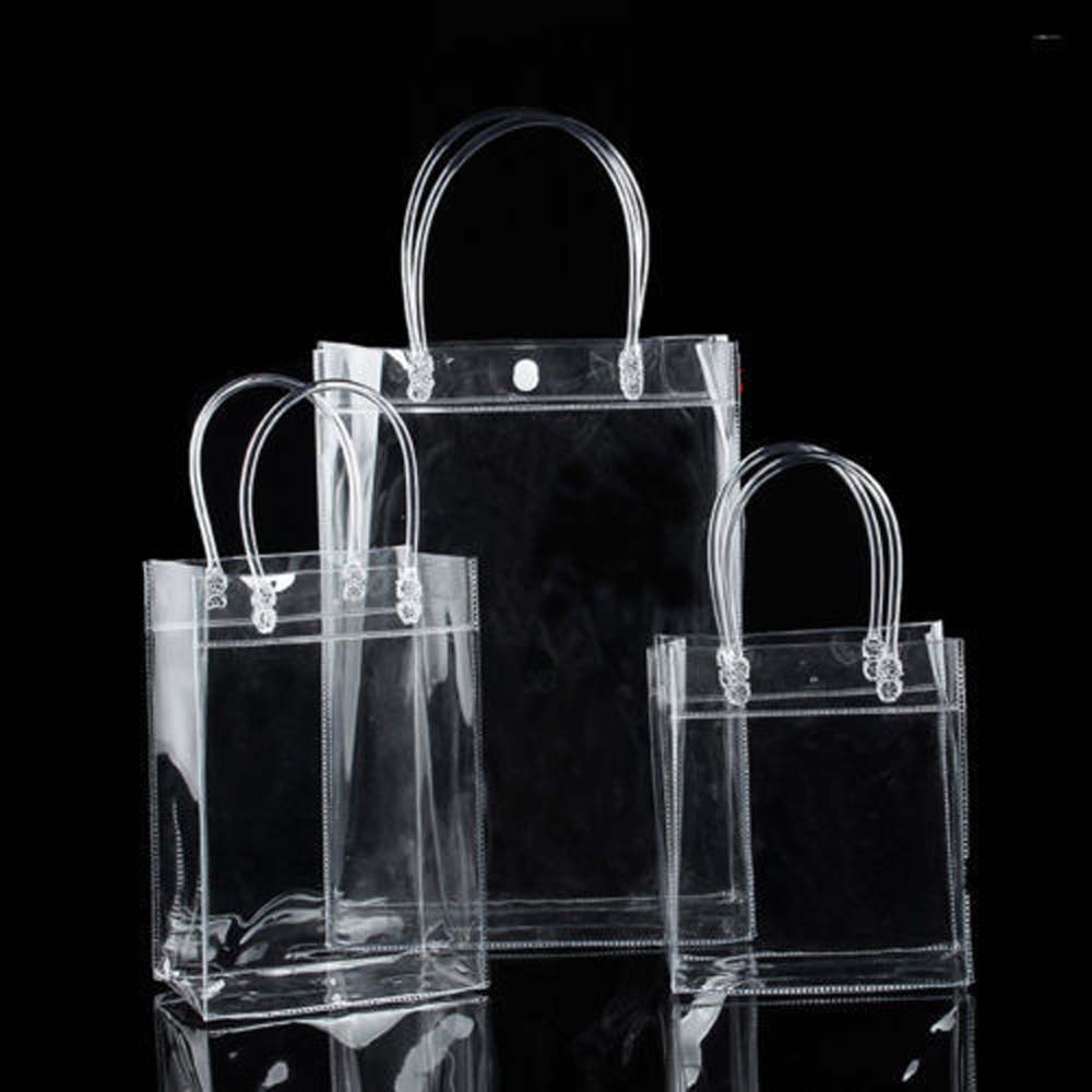 1Pcs Transparent Soft PVC Gift Tote Packaging Bags With Hand Loop Clear Plastic Handbag, Cosmetic Bag New Arrival