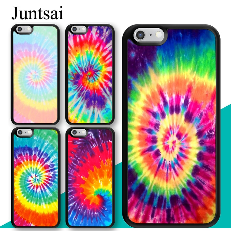 Rainbow Juntsai Coloridas Tie Dye Hippie Art Caso de Telefone Celular Para iphone 11 Pro MAX XR XS MAX X 6 6S 7 8 Plus 5 5S Coque Capa