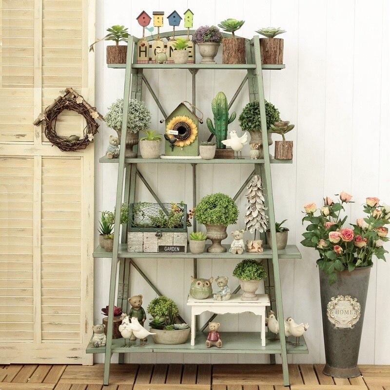 Tiered Flower Shelf Home Plant Stand Iron Four-layer Flower Pot Shelf Display Rack Holder Indoor Outdoor Patio Garden Balcony
