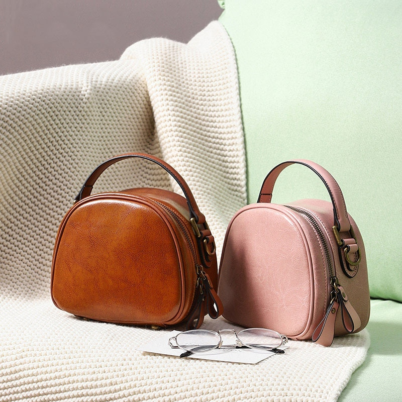 High-End Genuine Leather Shoulder Messenger Bag Genuine Leather Women Bag Simple Retro Small round Bag for Women