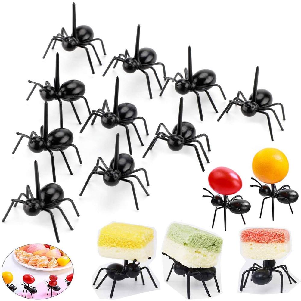 24 Pcs/12 Pcs Mini Ant Zahnstocher Dessert Gabel Obst Pick Vorspeise Kuchen Snack Gabel Dekoration Geschirr Lebensmittel Gabel küche Werkzeug