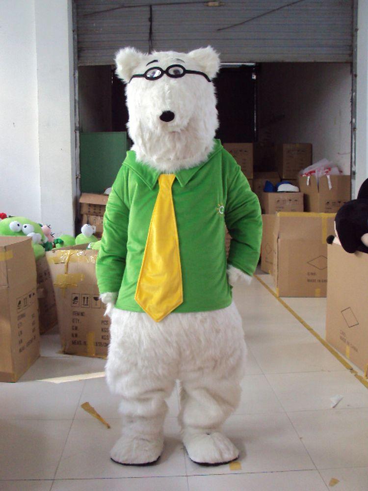 رائجة البيع الدب القطبي زي التميمة الدب القطبي زي التميمة شخصية كرتونية لطيفة Mascotte Costum تأثيري ملابس الكبار الحجم