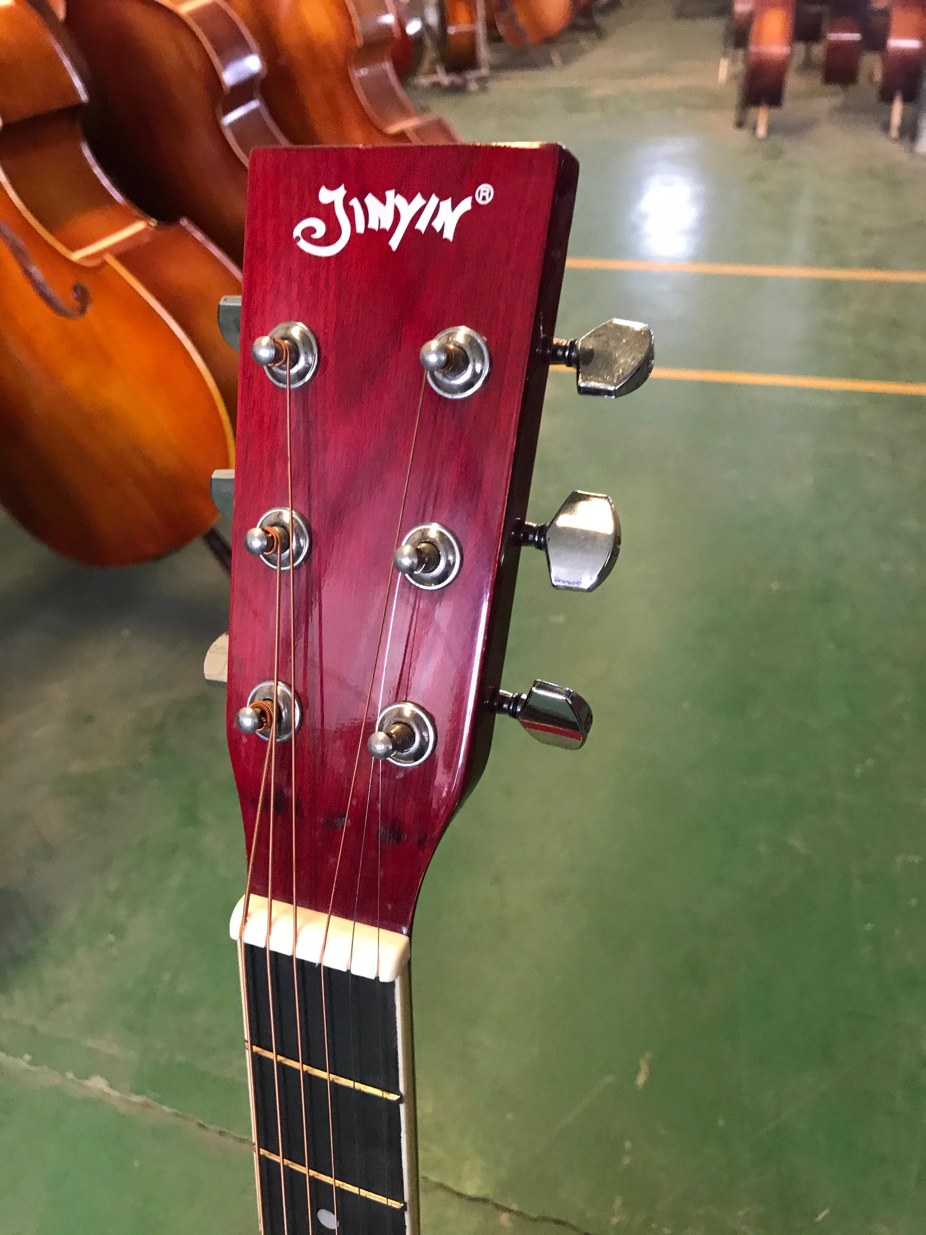 Acoustic Guitar 6 Steel-Strings Thin Body Flattop Balladry Folk Pop 41 Inch 21 Fret Guitarra Red Cutaway Electro enlarge