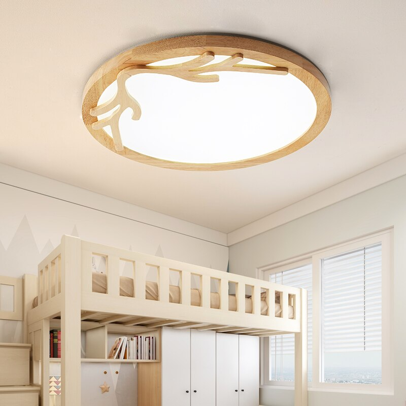 Bedroom Lamp Minimalist Modern Led Ceiling for Living Room Balcony Nordic Solid Wood Antler Japanese Log Lamps