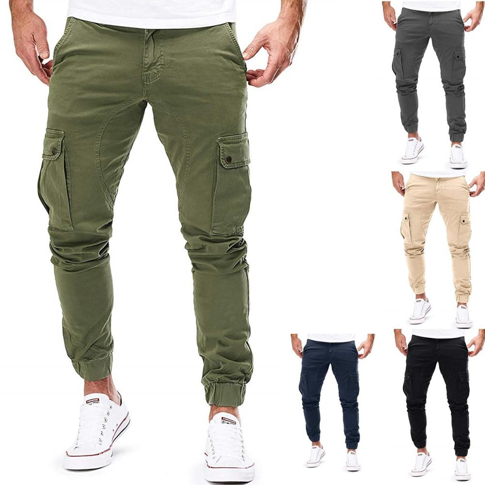 New Men Joggers Pants Solid Color Cargo Military Sweatpants Multi-pocket Spring Mens Trousers Sportswear Hip Hop Pencil Pants