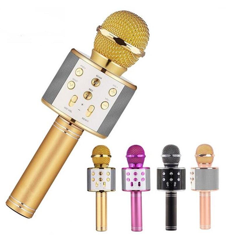 WS858 Bluetooth MICRÓFONO INALÁMBRICO Karaoke altavoz KTV reproductor de música grabador para cantar micrófono de mano Mic