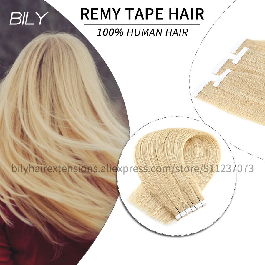 BILY Blonde Tape In Hair Extensions 100% Human Adhesive Skin Weft European Hair Natural Straight Remy Salon Quality 16-24 Inches