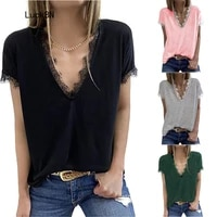2021 summer women t shirts sexy v neck lace short sleeve street tees loose office lady solid tops t shirt fashion plus size top