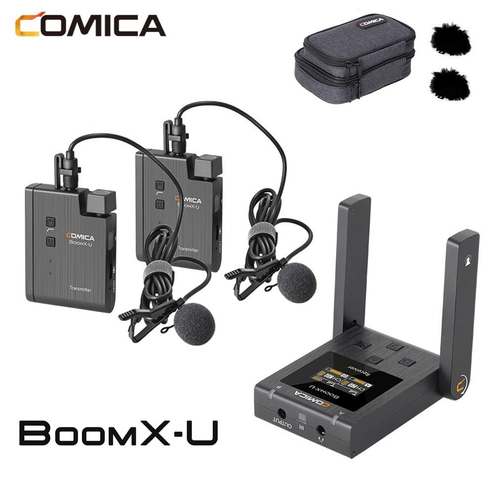 Comica BoomX-U BoomX U1 U2 Wireless Microphone Broadcast Mic Mini UHF Microphone Transmitters receiver Kit for Phone camera