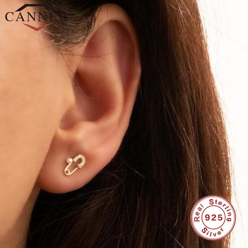 AliExpress - CANNER Real 925 Sterling Silver Stud Earrings for Women Star Cz Zircon Sparking Bling European 2020 New Earring 925 Silver