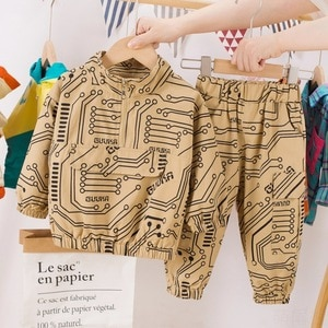 Children's Sports Suits Spring Clothes Boys' Casual Standing Collar Tooling Circuit Board Pattern Long-sleeve Suit 2-pieces Sets