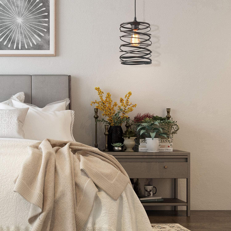 مصباح معلق LED بتصميم حلزوني عتيق ، مصباح معلق على شكل قفص ريفي ، مناسب للدور العلوي ، غرفة الطعام ، غرفة المعيشة ، غرفة النوم ، لمبات E27