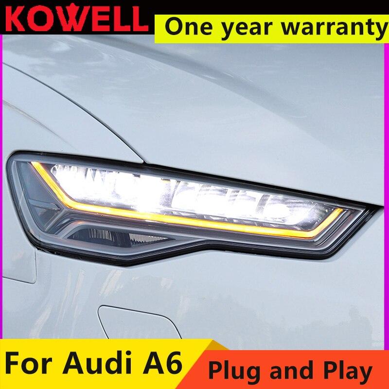 KOWELL car styling do stylizacji samochodów lampa czołowa do Audi A6 LED reflektor 2016-2018 A6L C7 reflektory LED reflektor DRL montaż