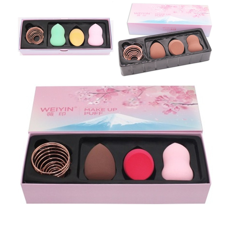 4 en 1/caja de esponja de maquillaje grande puff set mezclador cosméticos maquillaje base microfibra esponja polvo puff mujeres regalo