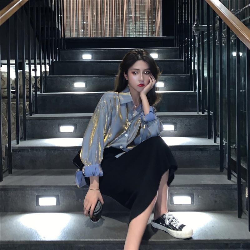 Mermaid Shirt Women's Design Sense Non-mainstream 2021 Spring New Loose Retro Hong Kong Style Long S
