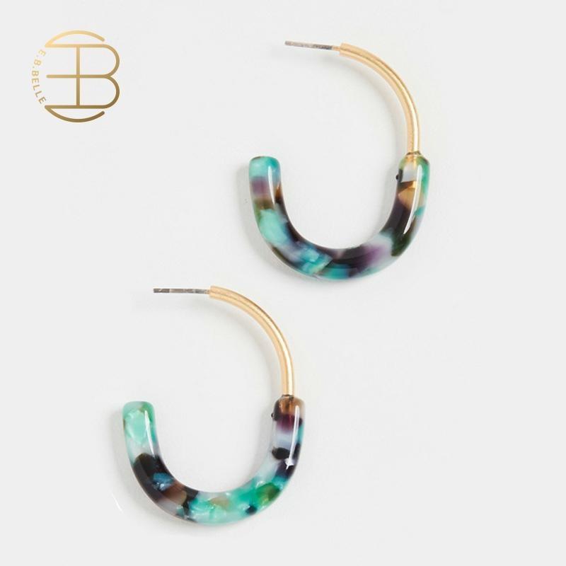 2020 verão minimalista pop estilo acético acrílico cc hoop brincos colorido bloco de cor ouro geométrico brinco aros para a menina
