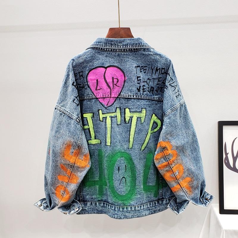 2020 primavera y otoño nueva moda letras hit color costura pintada graffiti bolsillo denim chaqueta femenina 2087