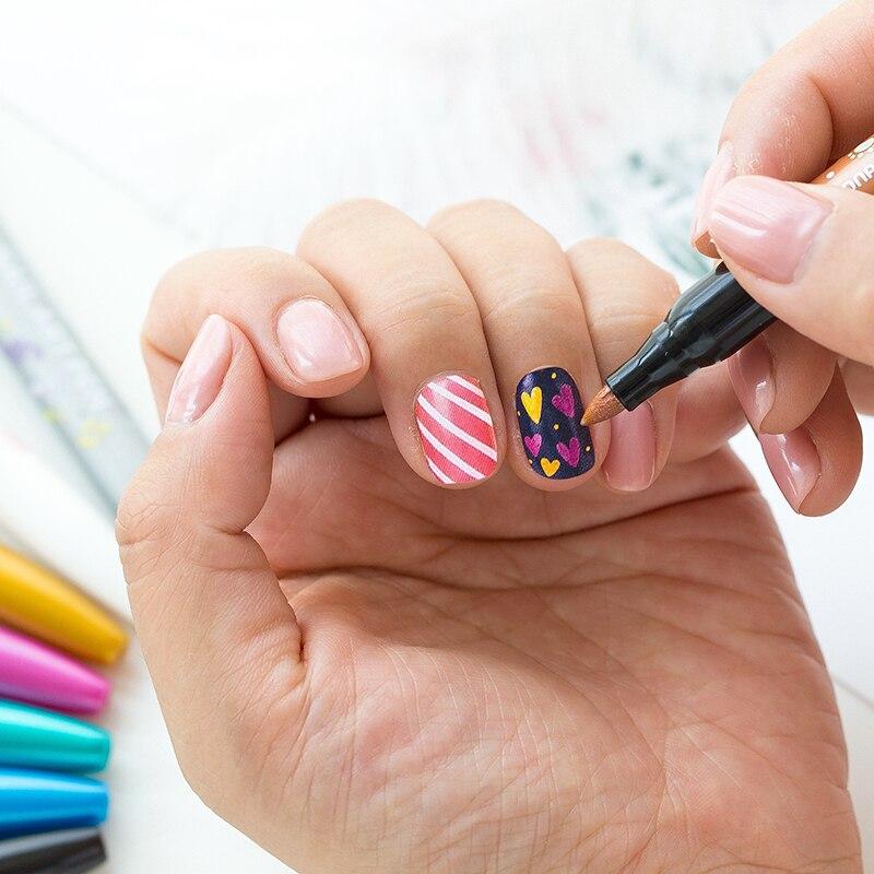 Monami 8 Farben Nail art Stift 1,7mm DIY Marker Nagel Graffiti Stift Maniküre Marker Helle Öl Makeups