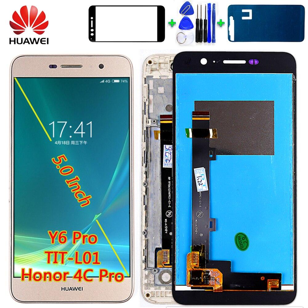 Huawei 5,0 pulgadas pantalla LCD para Huawei honor 4c pro TIT-L01 Digitalizador de pantalla táctil de vidrio con marco herramientas libres