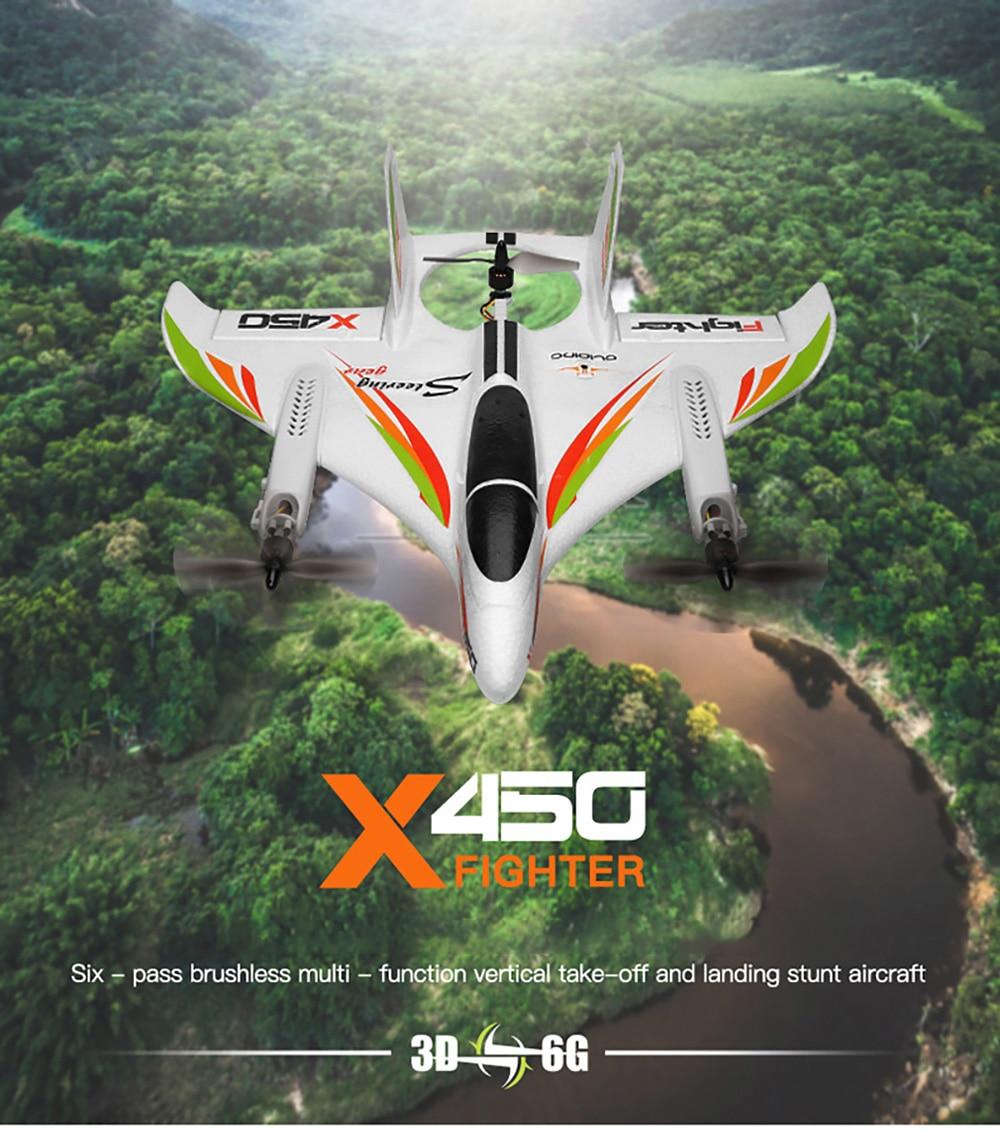 طائرة Rc XK X450 Rc 2.4G بجهاز تحكم عن بعد بدون فرش طائرة حيلة إقلاع عمودي وهبوط طائرة شراعية عن بعد طائرة مزودة بجهاز للتحكم عن بُعد