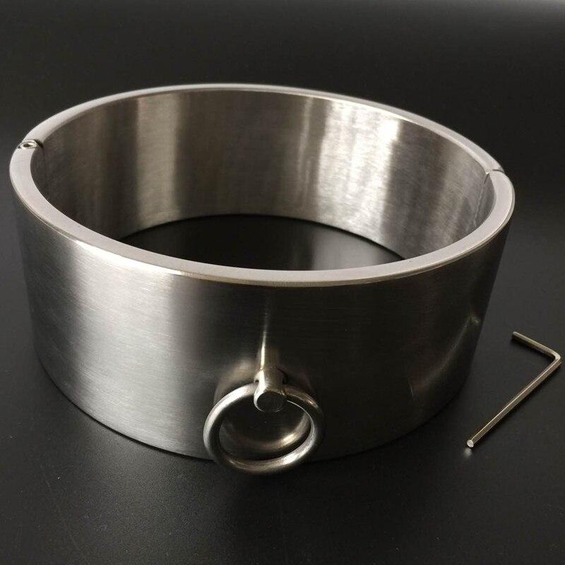 Hi-Q 6 سنتيمتر عالية الثقيلة الفولاذ المقاوم للصدأ طوق الرقبة القيود عبودية الوثن الرقيق BDSM المختنق العفة جهاز الجنس متجر للأزواج