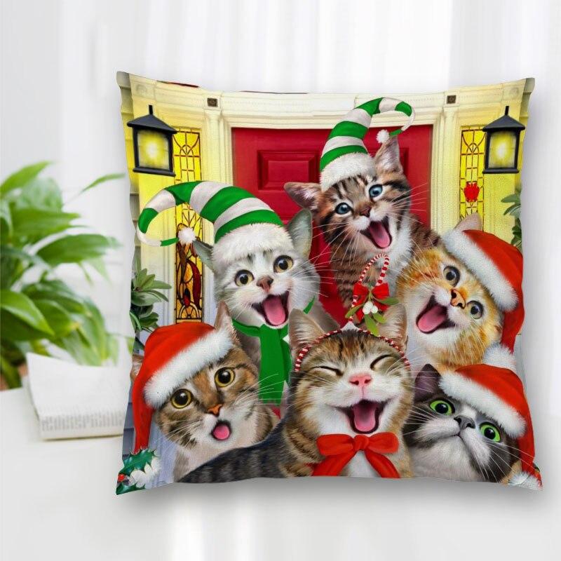 Изготовленный На Заказ искусство Cat Пазлы наволочка с застежкой-молнией Спальня для дома или офиса, декоративные подушки дивана наволочка д...
